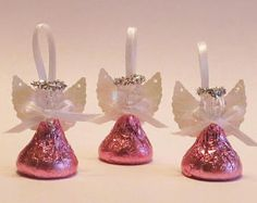 48 PINK Chocolate Candy Angels - First Communion, bridal shower, wedding, baptismal favor, set of 48 angels packed with PINK FOIL Christening Party Favors, Baptism Favors, First Communion Favors, First Holy Communion, Christmas Candy, Christmas Crafts, Handmade Angels, Disney Princess Birthday, Blue Chocolate