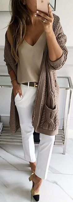 #fall #outfits / oversized knit cardigan #casualfalloutfits