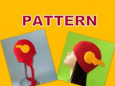 PDF Flash the Hero Hat Crochet Pattern. Beanie and Earflap Hat. ALL Sizes. From Newborn To XL Adult.