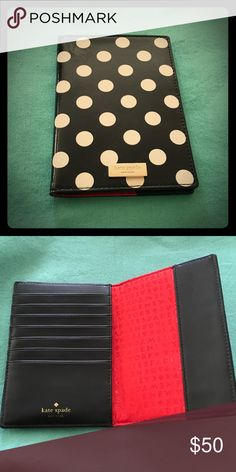 "Kate Spade Passport Holder ""Carlisle Street"" black and cream passport holder will additional room inside to hold seven  credit cards or ID Accessories Key & Card Holders"
