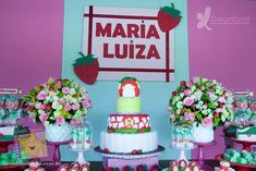 Pretty cake at a strawberry birthday party! See more party planning ideas at CatchMyParty.com! Strawberry Shortcake Party, Strawberry Cakes, Girl Birthday, Birthday Parties, Birthday Cake, Shower Party, Baby Shower Parties, Pretty Cakes, High Tea