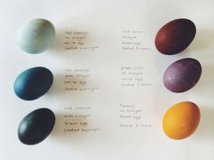 Naturally dyed eggs. Natural dye guide.  - Pinned by The Mystic's Emporium on Etsy