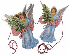 Angel paper Christmas garland from England