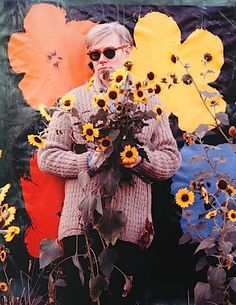 William John KENNEDY :: Andy Warhol in flower field with Flowers silk-screen, Queens, NY, 1964