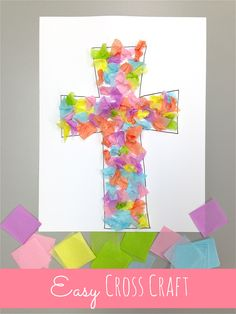 Easy cross craft for Easter using tissue paper and glue.