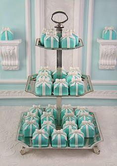 "Mini ""Tiffany Box"" cakes, cute idea for a bridal shower."