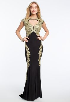 Gold Lace Appliques Cap Sleeve Dress