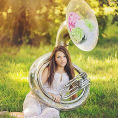 I had senior photos done with my sousaphone! photo shoot done by: Faithful Bird Photography Brass Musical Instruments, Sousaphone, Heavy Metal Bands, Senior Girls, Picture Poses, Love Flowers, Senior Pictures, Snow Globes, Photo Art