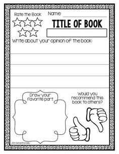 Easy Book Report Template Writing A Book Report Second Grade First Grade Books, 1st Grade Writing, First Grade Reading, Book Review Template, Book Report Templates, Kindergarten Writing, Teaching Writing, Writing Rubrics, Paragraph Writing