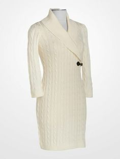 cbe2f89e8a84a Calvin Klein Ivory Shawl Collar Dress #winter #white #sweater #cable #knit  #cozy #designer #deal