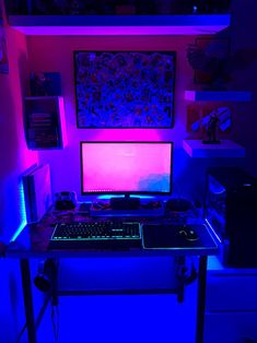 My very brightly lit Battlestation – Game Room İdeas 2020 Gaming Desk Setup, Best Gaming Setup, Computer Setup, Gaming Computer, Studio Room, Studio Setup, Neon Room, Office Setup, Pc Setup