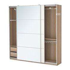 PAX Wardrobe, white stained oak effect, Auli Mehamn - 200x44x201 cm - soft closing device - IKEA