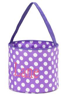 Personalized Purple Polka Dots Easter Basket Bucket at GracieClaireBoutique.com - SALE $20