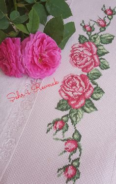 Bed Sheets, Shabby Chic, Banana, Stitch, Embroidered Towels, Bath Linens, Cross Stitch Embroidery, Cross Stitch Designs, Table Toppers