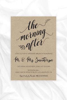 Post Wedding Brunch Invitation - Morning After - Kraft Paper Wedding Invitation - Editable Text - Downloadable wedding #WDHSN8122