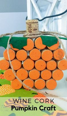 Looking for fun wine cork crafts? This easy wine cork pumpkin craft is one of the perfect wine cork projects for fall, Halloween, and Thanksgiving! Diy Craft Projects, Wine Cork Projects, Wine Cork Crafts, Diy Crafts, Craft Ideas, Bottle Crafts, Halloween Crafts For Kids, Halloween Home Decor, Fall Crafts
