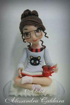 Polymer Clay Reading Girl Figurine Idea