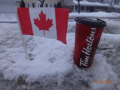 The Canadian Flag and A Tim Horton's Coffee. Oh Canada ! I miss Tim hortons! Canadian Things, I Am Canadian, Cool Countries, Countries Of The World, Tim Hortons Coffee, Meanwhile In Canada, Vancouver City, Canada Eh, True North