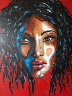 ''Black magic woman''. Acrylic on canvas by Anna Baramati.