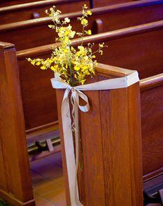 WeddingChannel Galleries: Yellow Church Pew Flowers