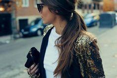 sequined blazer + long pony