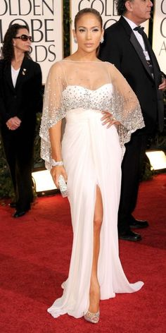 Jennifer Lopez is white hot in Zuhair Murad at the 2011 Golden Globe Awards at The Beverly Hilton Hotel on Sunday (January 16) in Beverly Hills, Calif. The 41-year-old singer finished off her look with Christian Louboutin shoes, a Swarovski bag, and $5 million worth of Harry Winston jewels!