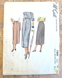 McCall 7809 - Vintage 1940s Womens Straight Skirt Pattern by Fragolina on Etsy