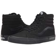 Vans SK8-Hi (Black/Black/Black) Skate Shoes ($60) ❤ liked on Polyvore featuring shoes, sneakers, leather trainers, real leather shoes, black leather sneakers, leather footwear and vans trainers