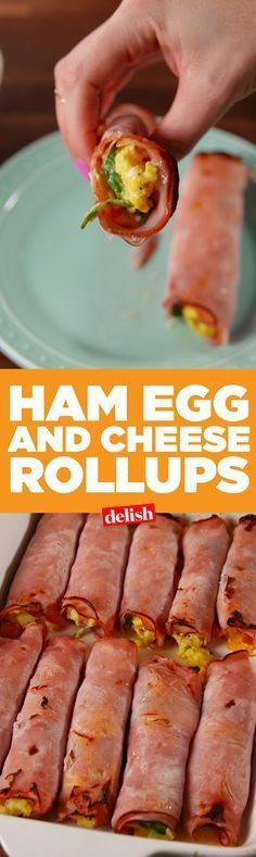 Ham, Egg & Cheese Roll-Ups are like low-carb breakfast burritos. Get the recipe on http://Delish.com.