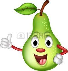 fruit cartoon: happy green pear thumbs up