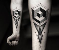 The Modern Geometric Tattoo Designs which are becoming main stream tattoos. With new creative ideas from us you will find best geometric tattoo for you. 3d Tattoos For Men, Tattoos 2014, Black Ink Tattoos, Cool Tattoos, Tatoos, Mens Tattoos, Tattoo Black, Creative Tattoos, Awesome Tattoos