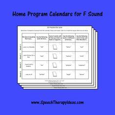 Home Program Calendars for F Sound