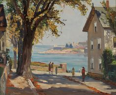 """King Street, Rockport,"" Anthony Thieme, oil on canvas, 24⅝ x 29⅝"", private collection."