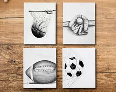 Set of 4 sports art prints, basketball, soccer, baseball and football. Perfect for your biggest sports fan! --Details--- ART : - Original drawings were drawn by me in pencil - Drawing was digitized for prints - Printed on beautiful thick white paper - Listing is for prints only no