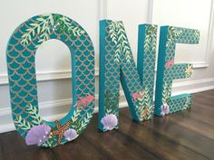 Items similar to freestanding letter photoshoot prop, paper mache letter, mermaid theme photo prop, birthday photoshoot prop, under the sea photoshoot prop on Etsy Mermaid Theme Birthday, Little Mermaid Birthday, Little Mermaid Parties, Baby Mermaid, 1st Birthday Girls, First Birthday Parties, Birthday Party Themes, Birthday Ideas, Birthday Celebration