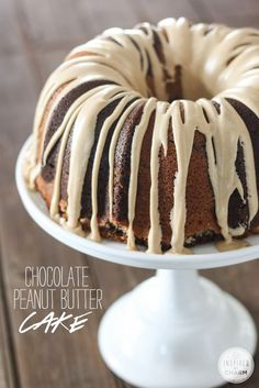 Chocolate-Peanut Butter Bundt Cake via @inspiredbycharm #dessert #recipes