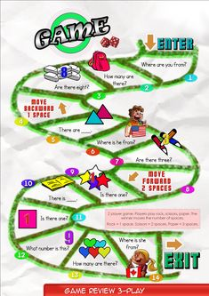 Game Board 3    Contents-Game Review booklet and theme flashcards.  Contains Everyday English, game review, grammar summary and worksheets.       Everyday English: Where are you from? Hey, Sam. Where are you from? I'm from America. I am from Canada.  Theme: Numbers  one, two, three, four, five, six, seven, eight, nine, ten.  Grammar: Numbers  What number is this? It is one. There is one. How many are there?  There are two. Is there one? Are there three?