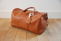 Brown leather duffle bag by Svenge on Etsy, $350.00