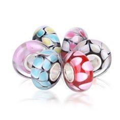 Bling Jewelry Pastel Dot Murano Glass Bead Bundle Sterling Silver Fits Pandora