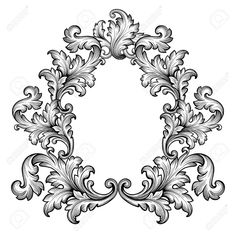 Illustration of Vintage baroque frame scroll ornament engraving border retro pattern antique style decorative design element vector vector art, clipart and stock vectors. Baroque Frame, Victorian Frame, Hand Embroidery Patterns, Vintage Embroidery, Motif Vector, Vector Vector, Tattoo Painting, Molduras Vintage, Ornament Drawing