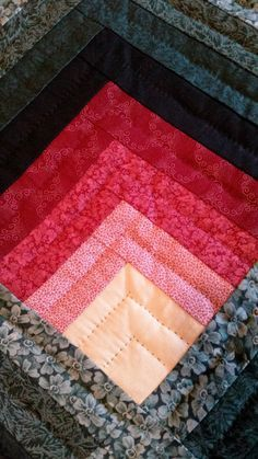 This is a beautiful Lancaster County Amish Handmade Quilt. The quilt is queen size and the pattern of the quilt is called: Light in Logs. This is shown on a queen size bed.  The quilt measures 106 x 108 and is made of 100% cotton with 100% polyester fiber batting. The colors in the quilt are beautiful deep burgundy, deep green and an antique white which signifies the light. This color combination is so pretty. The back of this quilt is in a green floral pattern fabric as shown in the last…