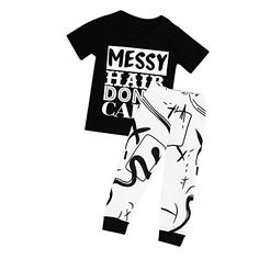 Buedvo 2pcs Baby Girls OutfitsMESSY HAIR DONT CARE Print Short Sleeve T-shirt TopsGraffiti Pants (2-3Years Blackwhite)