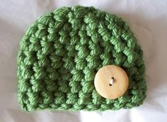 Choose from 22 Colors - Chunky Button Beanie - Crochet Infant Newborn Hat - Photography Prop