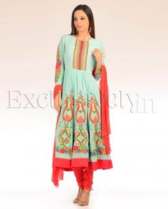 #Exclusivelyin, #IndianEthnicWear, #IndianWear, #Fashion, Turquoise Gypsy Queen Suit Set