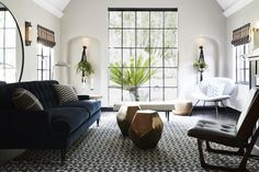 Living room, lux velvet sofa and brass coffee table