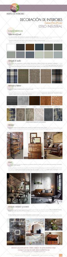 Infografía características del estilo industrial en decoración de interiores, Tips, Consejos, cómo decorar con estilo industrial @utrillanais www.anautrilla.com