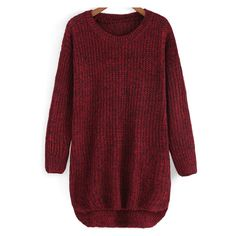 Round Neck Dip Hem Knit Sweater (730 RUB) ❤ liked on Polyvore featuring tops, sweaters, shirts, dresses, long sleeves, round neck sweater, red shirt, long sleeve knit sweater, knit sweater and knit top
