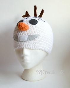 Snowman hat All sizes availableMade to order Olaf by Olaf Costume, Frozen Costume, Hat Patterns, Crochet Patterns, Halloween Ideas, Halloween Costumes, Snowman Hat, Crochet For Kids, Crochet Projects
