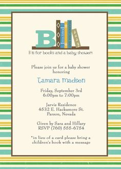 children's book baby shower invitation