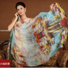 a3e1bfb1dd4e7 High quality mulberry natural silk scarf for Women Lady Girl Long Female  Shawl hijab wrap Foulard Summer Beach Cover-ups